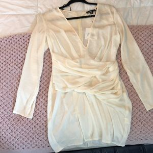 Cream ruched dress